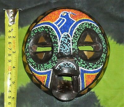 """6"""" COLOURFUL Beaded TRIBAL HEAD African ETHNIC FACE MASK WOOD wall mount statue"""