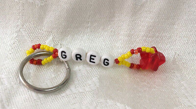 GREG personalized beaded men or boys keychain-NEW-Handmade