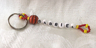 GABRIEL personalized beaded men or boys keychain-NEW-Handmade