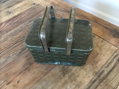 Nice Old Antique Vtg Ca 1900s US Marines Cut Plug Tin Lunch Pail Tobacco Tin Can