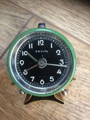 Ebosa Brevet Dem Vintage Alarm Clock 1950's small Green & Black Military Style🕰