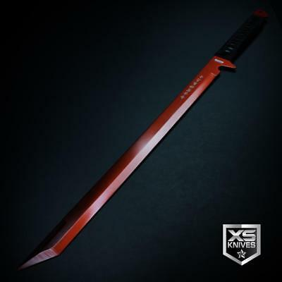 "Epic RED 26"" LASER TANTO Sword Machete Ninja Full Tang Fixed Blade + SHEATH"