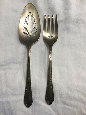 Wm A Rogers A1 Plus Meadow Brook Serving Fork and Pierced Pie Server