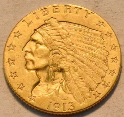 1913 $2.50 Gold Indian Quarter Eagle, High Grade 2 and 1/2, Nice Looking Coin