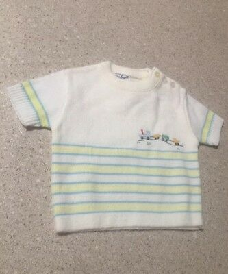 A Little Angel VINTAGE baby Boy Sweater 0-3 Mo. Train~made In Philippines
