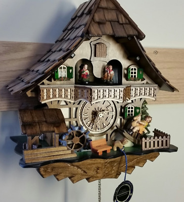 Authentic Black Forest German Chalet Cuckoo Clock With Music Annimation