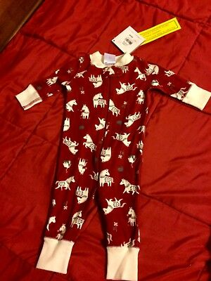NWT Hanna Andersson One Piece Sleeper Pajamas 50 0-6 months Christmas Holiday