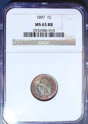 1897 Indian Head Cent NGC MS 65 RB