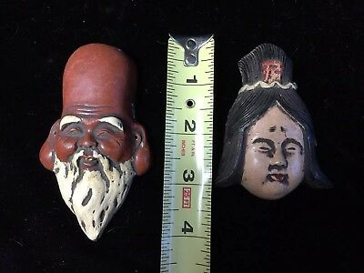 Antique Vintage Asian Clay Masks Man & Woman