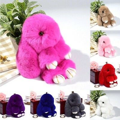 Adorable Fur Bunny Fluffy Rabbit Plush Toy Keyring Bag Charm Pendant Keychain