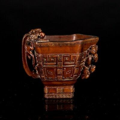 19th Chinese Antique Carved Box Wood Cup UA496CA