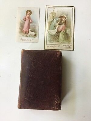 Vintage Leather Antique Gilt French Limoges Personal Bible