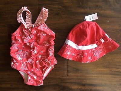 Baby Gap red paisley swimsuit with matching hat, size 18-24 months