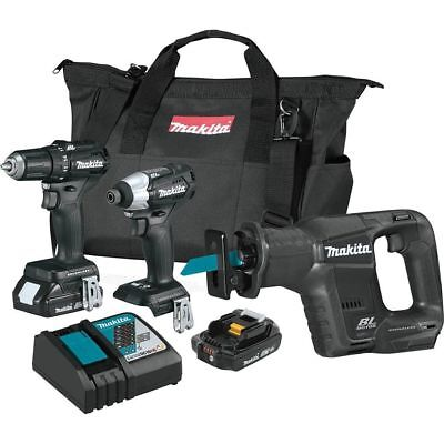 Makita 18V LXT Lithium-Ion Sub-Compact Brushless Cordless 3-Piece Combo Kit...