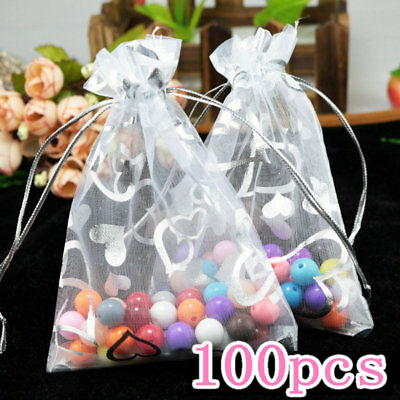 100x Delicate Organza 9x12cm White with Heart Drawstring Wedding Gift Bags