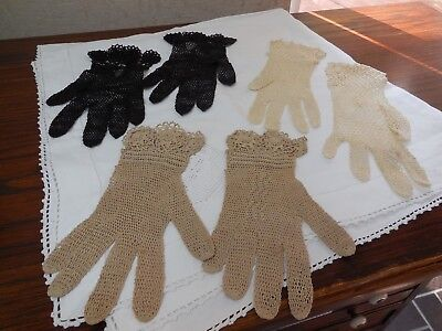 Vintage hand crochet/tatting fish net gloves lot of 3 pairs not sized