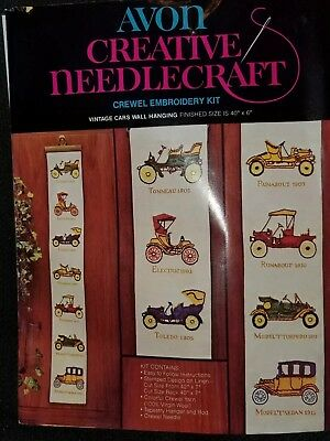 Crewel Embroidery Kit Avon Cars Vintage Wall Hanging Transportation Wool Yarn
