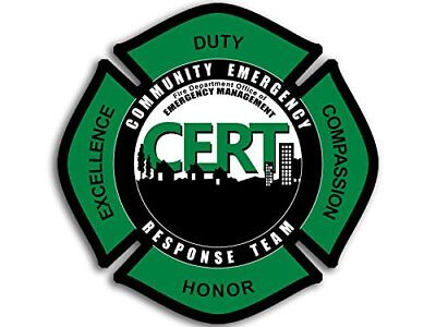 4x4 inch Maltese Shaped CERT Fire Department Sticker - logo Emergency Rescue us