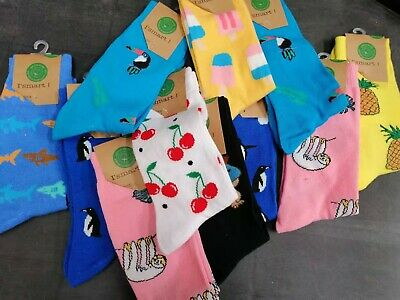 4 Pairs Novelty Sox Funny Socks Cotton Assorted Colours Patterns Random