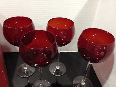 Set of 4 Lenox Holiday Gem Ruby Red Balloon Bowl Wine Glasses Clear Stem - EXC