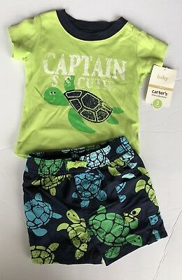 Carters Infant Baby Swim Trunks Turtles With Matching Shirt New Navy Green