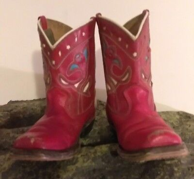 Vintage 1940's 50's Cowboy Boots Red Leather With Inlay Children's