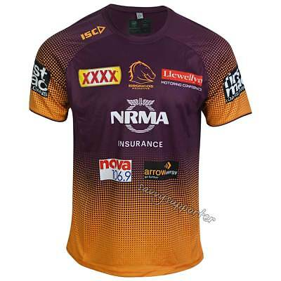 Brisbane Broncos 2019 NRL Maroon / Amber Training Shirt Sizes S-5XL BNWT
