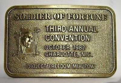 Vintage 1982 Gold Metal Belt Buckle Soldier Of Fortune Third Annual Convention