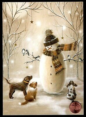 Christmas Snowman Puppy Dogs Birds Trees  Snow - Christmas Greeting Card - NEW