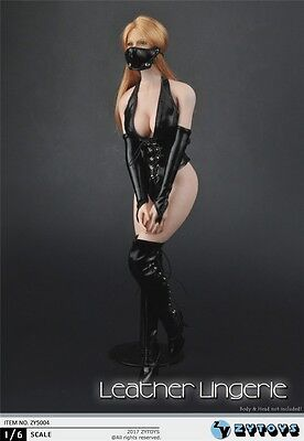 ZYTOYS ZY5004 1/6 Sexy black leather + boots for PHICEN Boby in stock