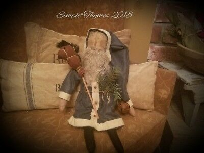 Primitive Early Style Santa Claus Doll~Christmas~Winter~EAAM