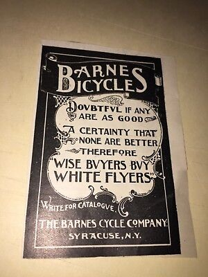 1896 Barnes Bicycle, White Flyers Ad.