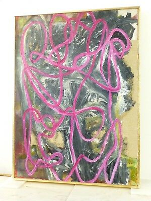 VINTAGE ABSTRACT EXPRESSIONIST OIL PAINTING  MID CENTURY MODERN Signed 1969