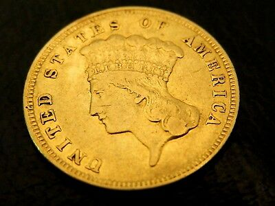 Rare U.s. 1879 $3.00 Gold Princess Coin - Low Mintage - Very Good Details -  Nr