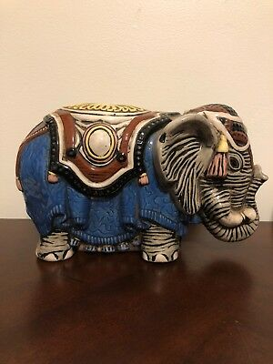 Vintage Ceramic Elephant Piggy Bank. Writing On Bottom But I Can't Make It Out