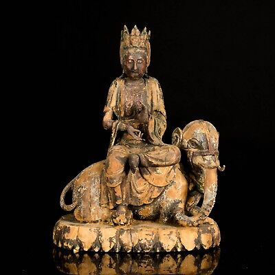 Ming Dynasty Style Chinese Antique Wood Guanyin Sculpture UB588CA