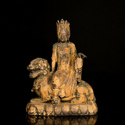 Ming Dynasty Style Chinese Antique Wood Guanyin Sculpture UB589CA