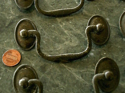 6 Antique Vintage Brass Tone Metal Federal Stye Drawer Pulls