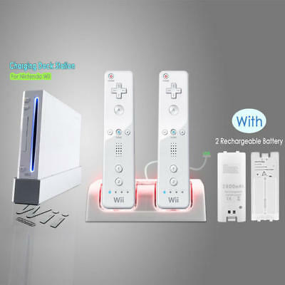 Charger Charging Dock Station +2 Batteries For Nintendo WII Remote Controller