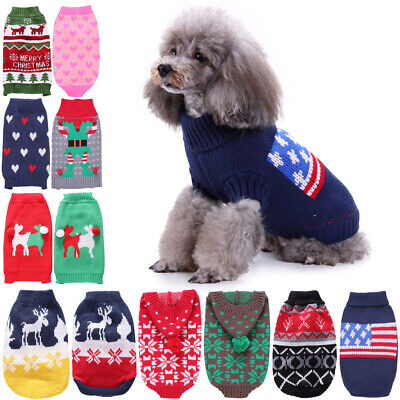 Small Dog Pet Knitted Winter Costume Apparel Warm Coat Clothes Puppy Cat Sweater
