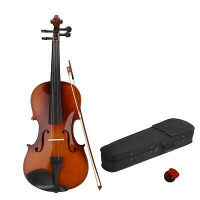 New Red School Basswood Full Size 4/4 Acoustic Violin + Case + Bow + Rosin