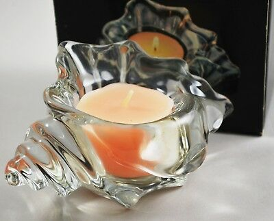 1983 Avon Coral Glow Tropical Breeze Candle in Glass Conch Seashell