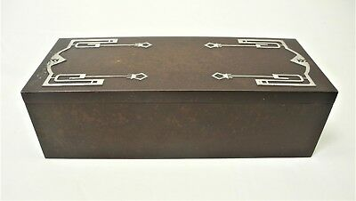 Antique CROSS Arts & Crafts Sterling on Bronze HUMIDOR CIGAR Box 4095