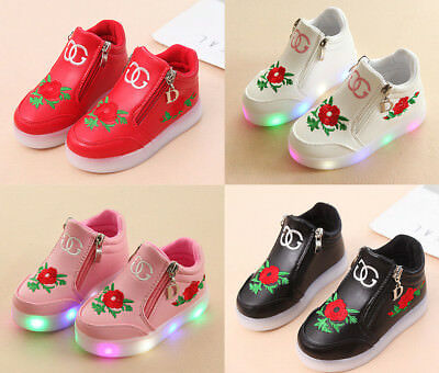Baby Girls LED Light Up Shoes Children Toddler Casual Trainers Sport Sneakers
