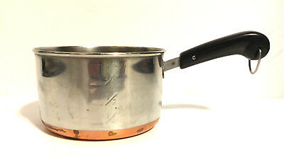 Vintage Revere Ware Copper Bottom Stainless Mini Pan Measuring Cup Warmer  B