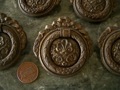 5  Marked Antique Vintage Victorian Brass Tone Metal Drawer Pulls *wreaths *bows