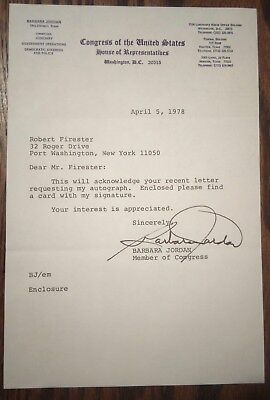 Barbara Jordan Autograph ~ Typed Congressional Letter Signed - 1978