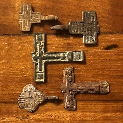 5 Medieval Cross Pendants Fragments Christian Jesus Russian Artifact Catholic