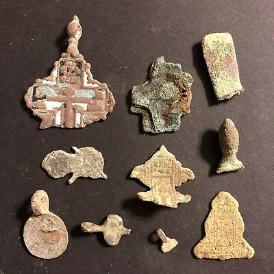 Ancient & Medieval Artifact Lot Worldwide Antiquities Metal Detector Finds Brass