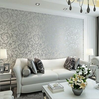 10M Gold Silver Wall Paper Damask Embossed 3D Textured Wallpaper Ship from AU